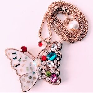 NEW! CRYSTAL & ENAMEL BUTTERFLY SWEATER NECKLACE